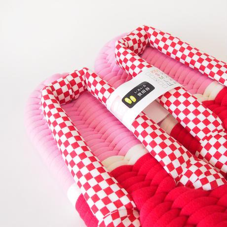 赤い市松模様のふっくら布ぞうり:M