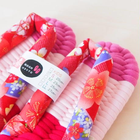 和風の花柄鼻緒のふっくら布ぞうり:S