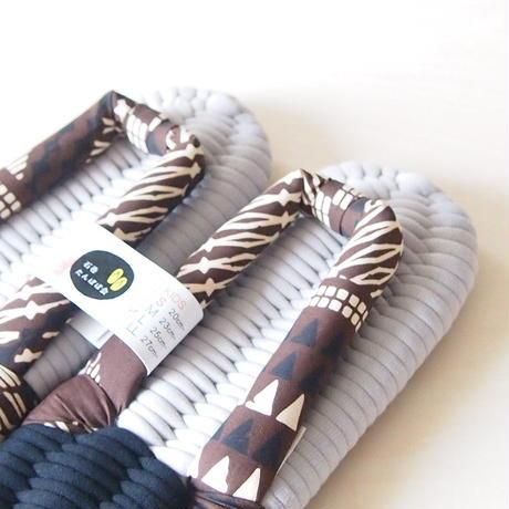 【定番】ハワイアン鼻緒のふっくら布ぞうり/タパ・ブラウン:LL