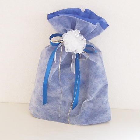 不織布 リボン付巾着袋(大)・ブルー