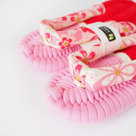 【定番】花柄鼻緒のふっくら布ぞうり:M