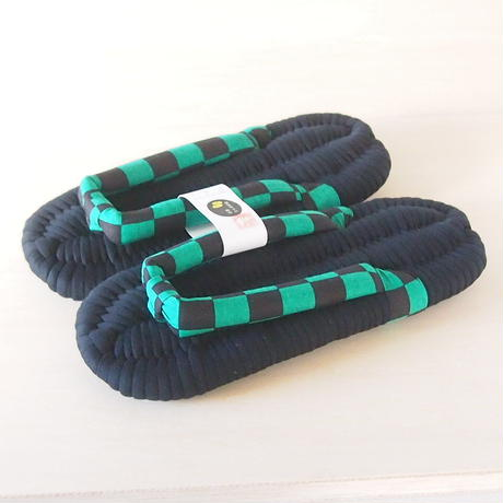 緑黒市松のふっくら布ぞうり・L