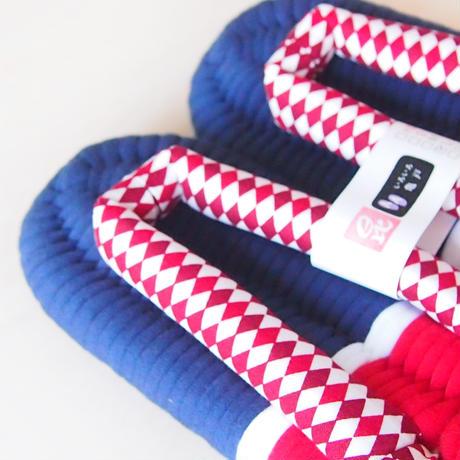 ネイビーレッドのふっくら布ぞうり:L