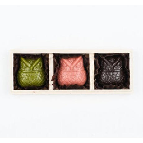 OWL CHOCOLATE GIFT BOX SET(3個木箱入) | OJAS PURE RAW CHOCOLATE