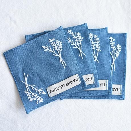 バラとラベンダーの手刺繍コースター【2枚1組】