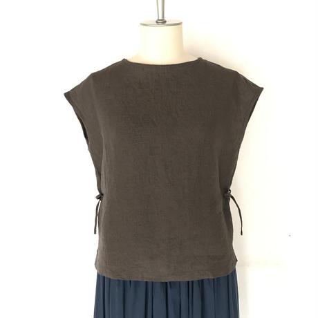フレンチスリーブシャツ サイドリボン グレー