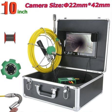 管内検査 排水管 下水道検査 カメラ キット グラスファイバーケーブル50m パイプ検査 工業用 下水管内内視鏡 スネーク 10inchΦ22
