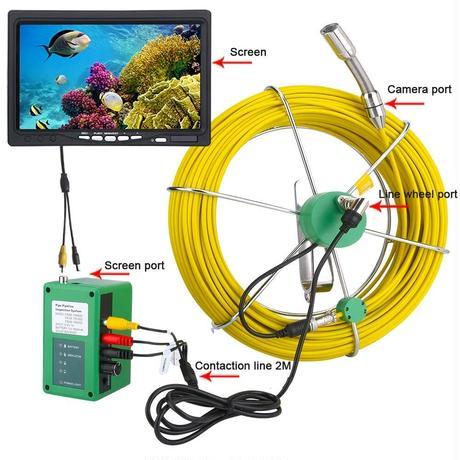 管内検査 排水管 下水道検査 カメラ キット グラスファイバーケーブル30m パイプ検査 工業用 下水管内内視鏡 スネーク 9inchΦ17