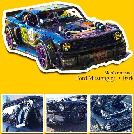レゴ テクニック 互換品 フォード マスタング ダークカラー モーターセット プレゼント クリスマス スーパーカー レースカー ラジコン 車 おもちゃ ブロック 互換