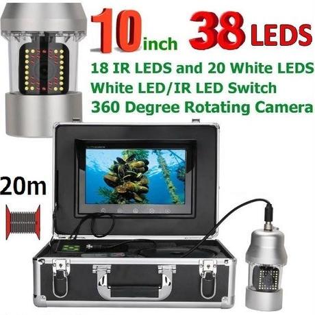360度回転 CCD 水中カメラ 釣りカメラ LED38灯(赤外線+白色) 10インチモニター 20mケーブル GAMWATER