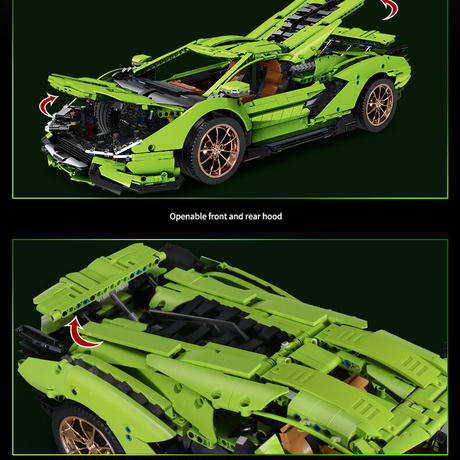 レゴ テクニック 互換品 ランボルギーニ シアン FKP37 デザイン グリーン スーパーカー スポーツカー レースカー 42115 プレゼント クリスマス レースカー 車 おもちゃ ブロック