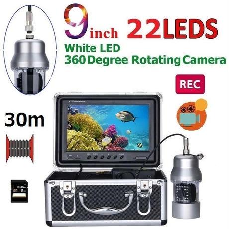 CCD 水中カメラ 釣りカメラ 360度回転 白色LED22灯 9インチモニター 30mケーブル GAMWATER 録画 SDカード付