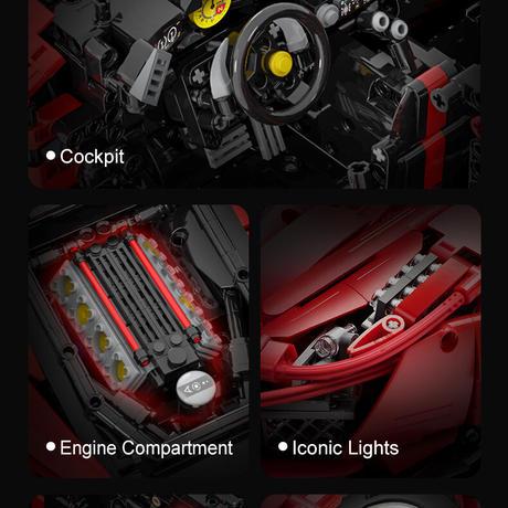 レゴ 互換品 フェラーリ 488 ピスタ デザイン レッド スポーツカー レーシングカー スーパーカー テクニック プレゼント クリスマス レースカー 車 おもちゃ ブロック