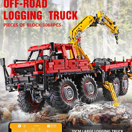 ラジコン レゴ 互換品 多関節式伐採トラック ローダークレーン モーターセット 8×8 オフロード RC リモートトラック テクニック プレゼント クリスマス 車両 工事 重機 ラジコン ブロック