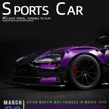 レゴ 互換品 アストンマーティン GT3 デザイン 3850ピース パープル 紫 マーチン スポーツカー スーパーカー テクニック ブロック プレゼント クリスマス おもちゃ ブロック
