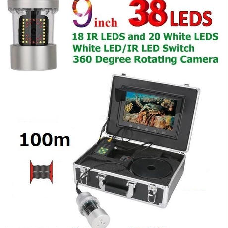 CCD 水中カメラ 釣りカメラ 360度回転 赤外線・白色LED38灯 9インチモニター 100mケーブル GAMWATER