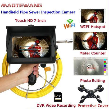 管内検査 排水管 下水道検査 手持ち wifi 録画 カメラ キット グラスファイバー ケーブル 20m パイプ検査 工業用 下水管内内視鏡 スネーク 7inchΦ22