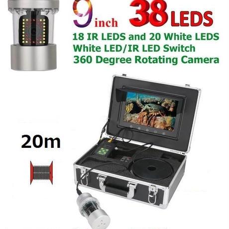 CCD 水中カメラ 釣りカメラ 360度回転 赤外線・白色LED38灯 9インチモニター 20mケーブル GAMWATER