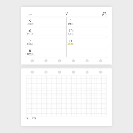 組み合わせて使える 横WEEKLY mini6[2021年 1〜12月]
