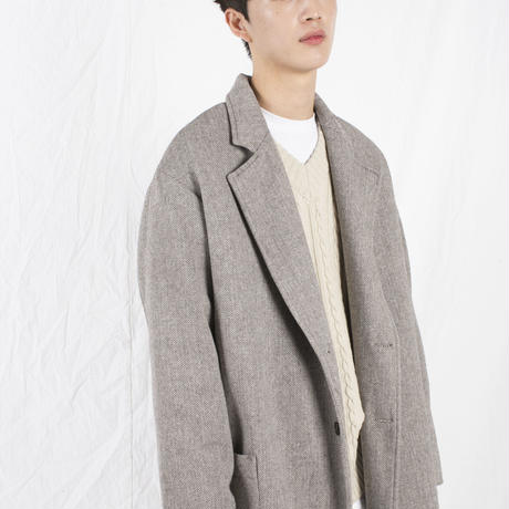 herringbone two buttom long coat (2colors)