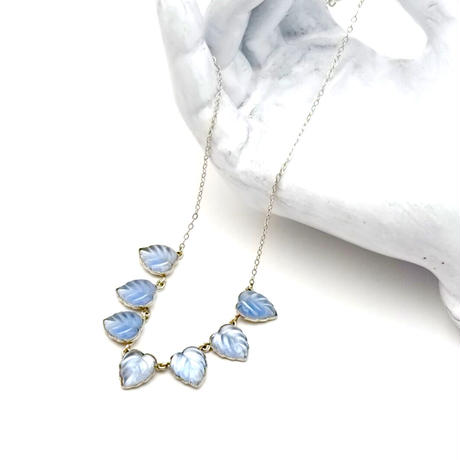 Baby blue Frosted Glass Necklace(NE1313)