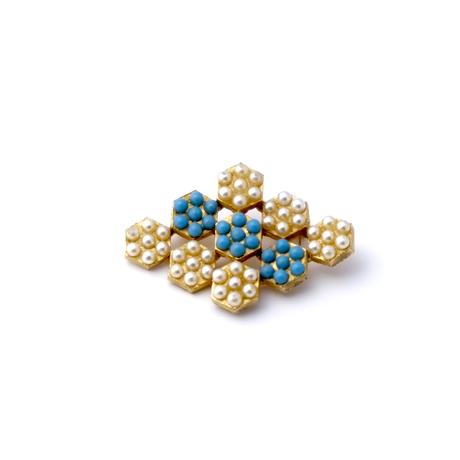 【委託販売中】パールホワイトとターコイズブルーのブローチ(BR1169)