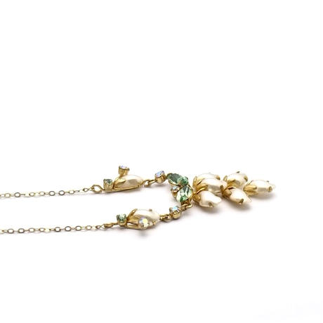Pearl and Green Glass Necklace(NE0453)