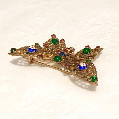 フランス エナメル製法の蝶のブローチ(BR0512)