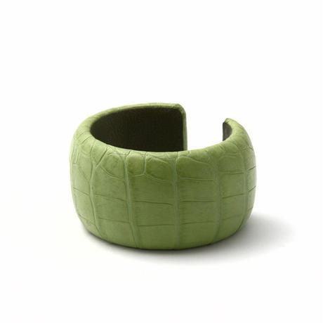 アリゲーターバングル 4cm ライムグリーン
