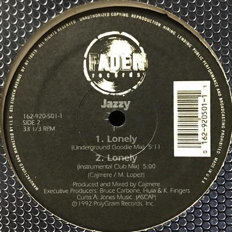 Jazzy - Lonely [12][Fader Records] ⇨90s Deep House!