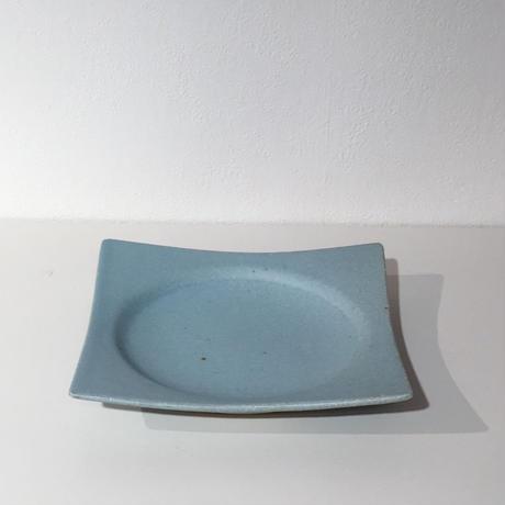 空色釉角皿(小)「作家 水野幸一」