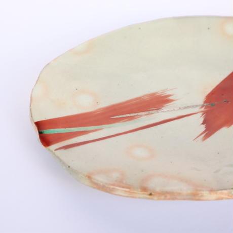 楕円赤絵皿 「作家 奥田美恵子」(No.61)