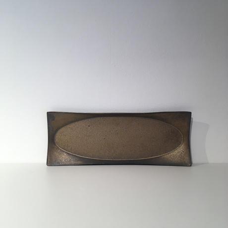 銅彩釉スクエアオーバルプレート(小)「作家 水野幸一」
