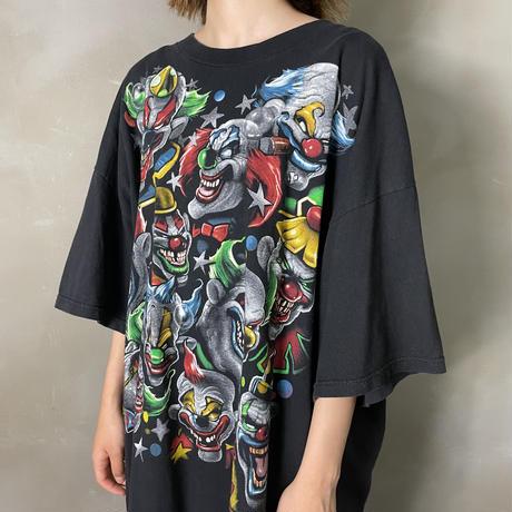 古着 サーカス ピエロ フロント 総柄 Tシャツ
