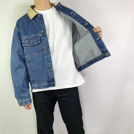 Beige neck denim  jacket