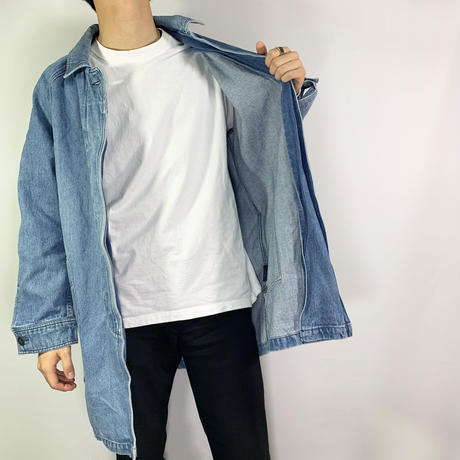 Button fly denim long coat