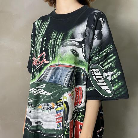 古着 Racing レーシング 総柄 Tシャツ