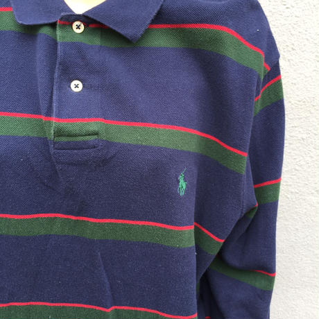 Polo navy green red border long polo