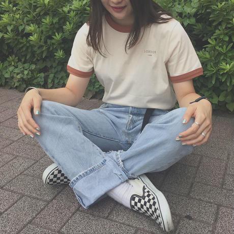 90s LONDON linger T−shirts(brown)