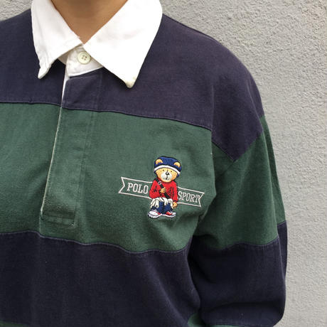 Polo Sport navy green rugby shirts(bear logo)