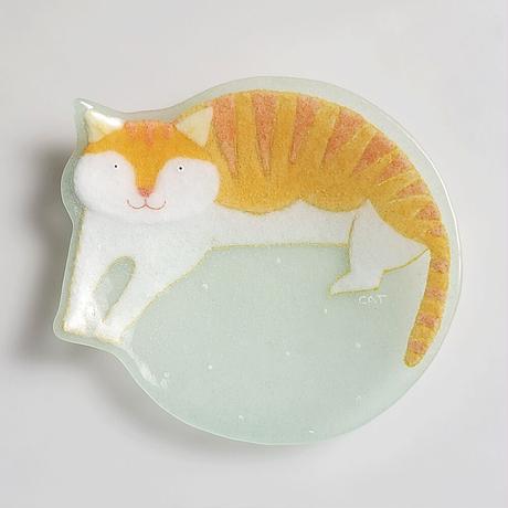 【水吉郁子】動物小皿 トラネコ ミントグリーン(19037-CAT)