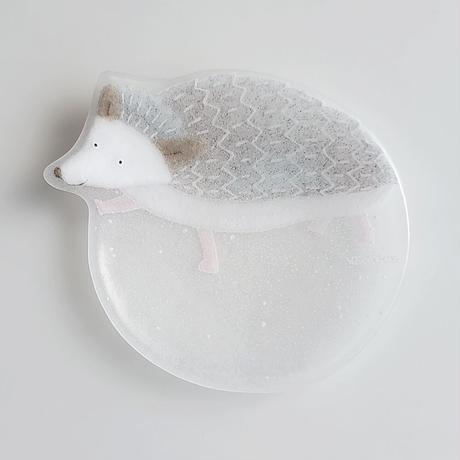 【水吉郁子】動物小皿 ハリネズミ 白(19037-HEDGEHOG)