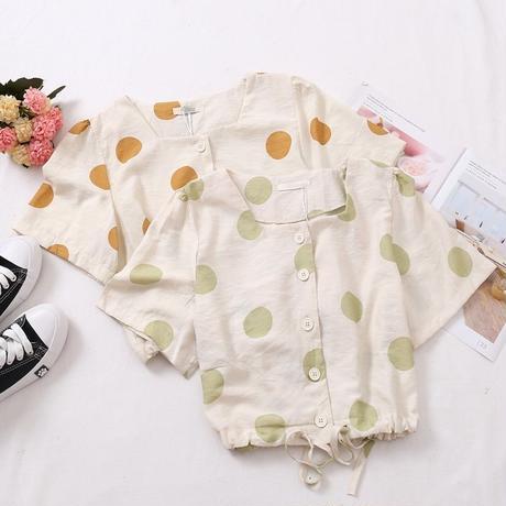 水玉 柄 ショートシャツ 半袖 3色選択 0037