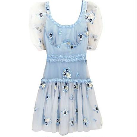 花柄 デザイン ドレス ブルー 刺繍 メッシュスリーブ 0068