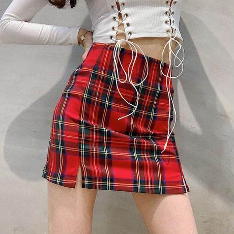 タータンチェック 赤 スリット ハイウエスト スカート 薄手 0032