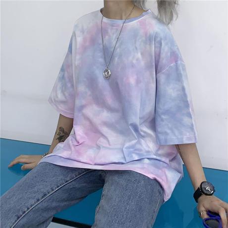 タイダイ 柄 Tシャツ 五分袖 ピンク オレンジ 2色 0241