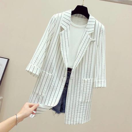 ストライプ 柄 ジャケット 七分袖 白 黒 2色選択 0164