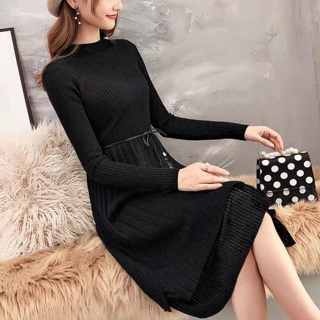 ペールトーン ニュートラルカラー セーター ドレス ウエストマーク 4色 0359