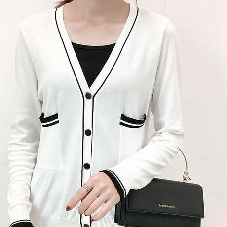 カーディガン シャツ 薄手 長袖 Vネック 大きいサイズ 黒 白 2色選択 0136