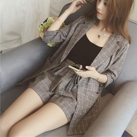 セットアップ アウター スーツ ショートパンツ 大きいサイズ グレー 黒 2色 0134